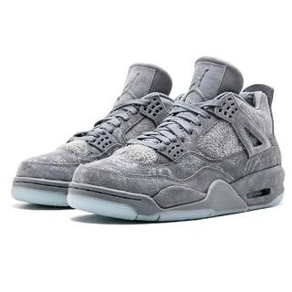huge selection of 37b91 c0430 READY STOCK Spot Nike Air Jordan 4 X KAWS Cool Gray AJ4 Suede Basketball  Shoes