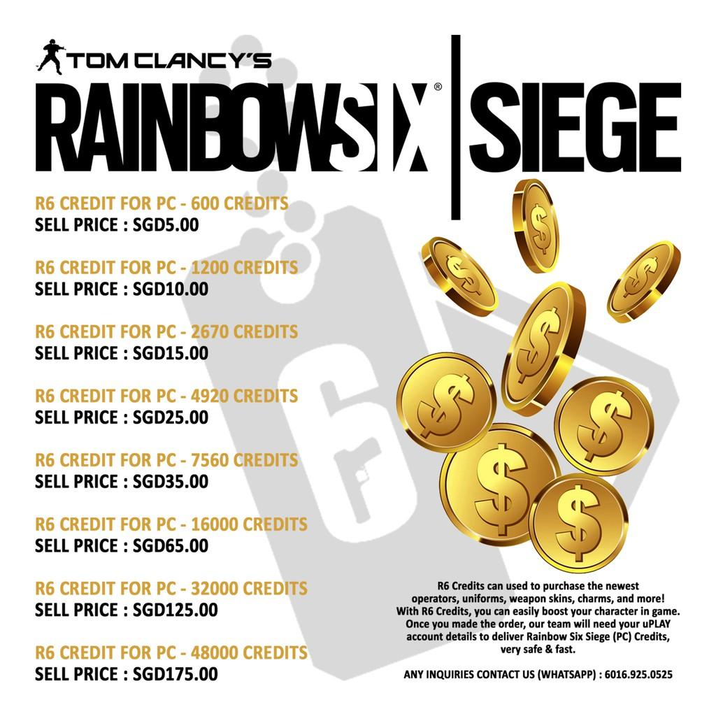Tom Clancy's Rainbow Six Siege | 4,920 R6 Credits | Shopee