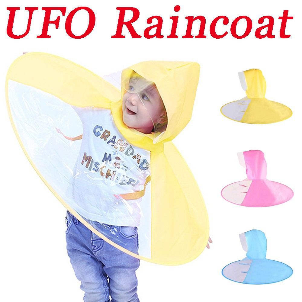 138d708f8e5cb Foldable Children Raincoat Umbrella UFO Shape Rain Hat Kids Cartoon Duck