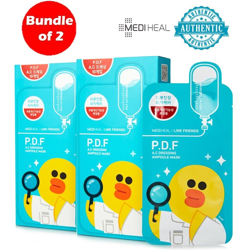 [Clearance] Bundle of 2 (20Pcs) Mediheal Line P.D.F A.C Dressing Ampoule Mask | Shopee Singapore