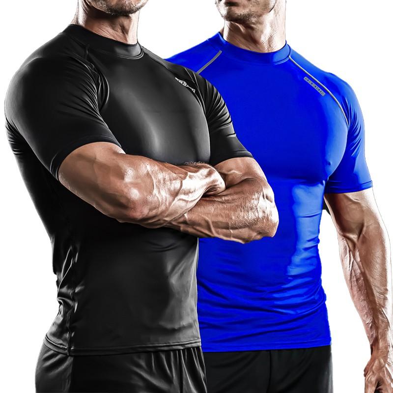 Men/'s Compression Shirt Workout Sport Top Short Sleeve Cool Dry Plain Breathable