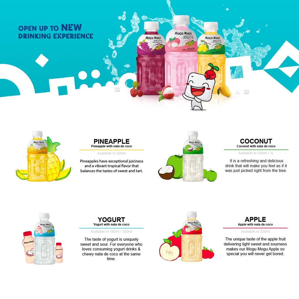 MOGU MOGU] [320ml x 24 Bottles] Juice with Nata de Coco