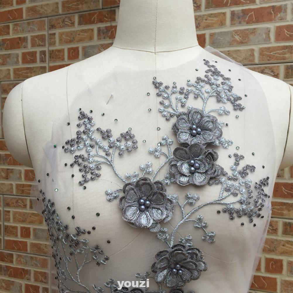 Wedding Dress 3D Fabric Flowers Pearl Beads Lace Sew on Patch Applique DIY Craft