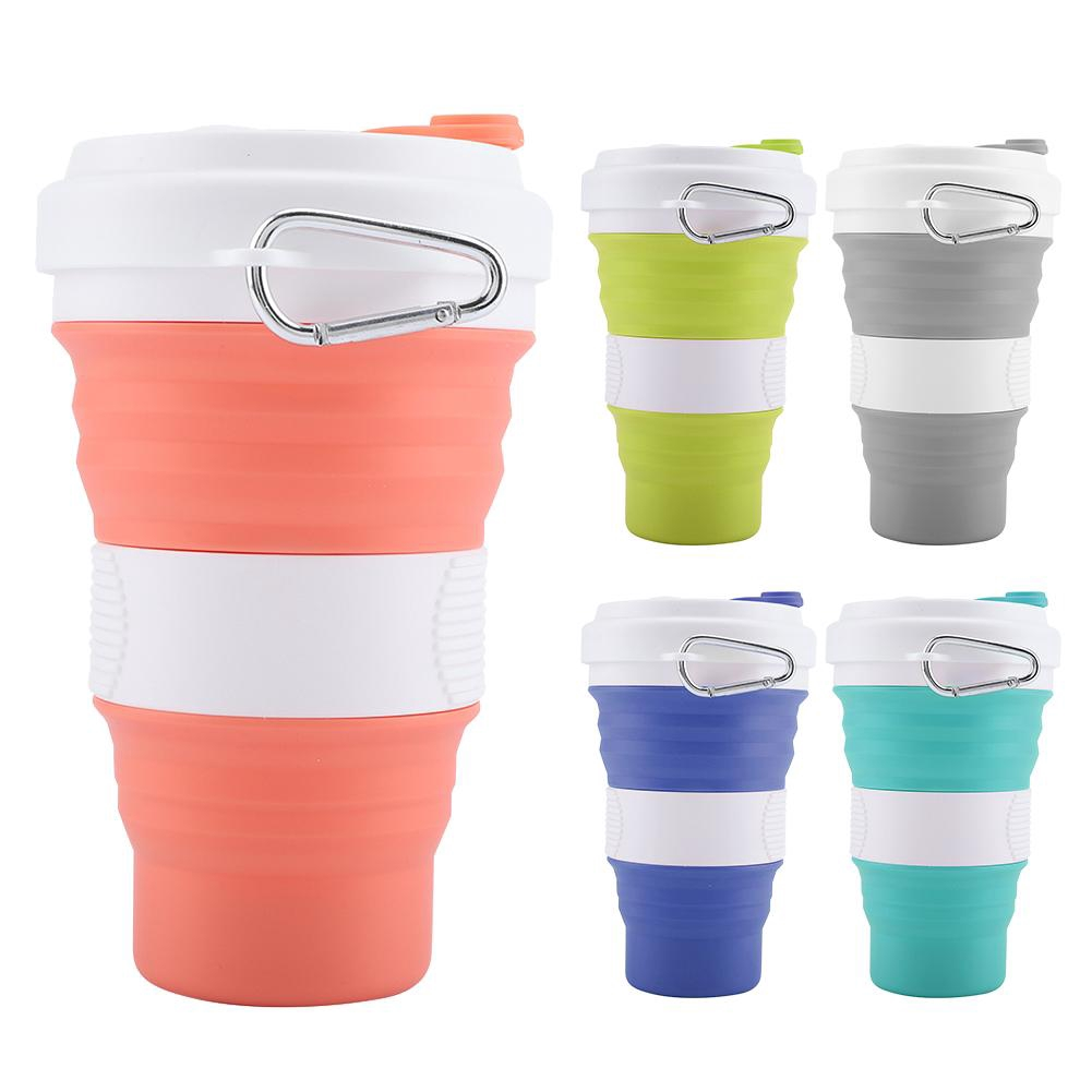 BPA Free Collapsible Cup Drink 550ml Portable Silicone Retractable Folding Cup Telescopic Drinking Collapsible Coffee Cup With Lids Travel Cup