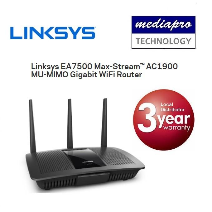 Linksys EA7500 Max-Stream AC1900 MU-MIMO Gigabit WiFi Router 3 Yr Local  Warranty
