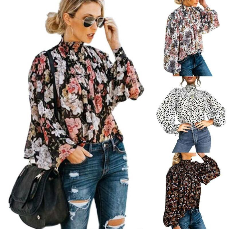 Womens Printed High Neck Long Sleeve Blouse find Brand