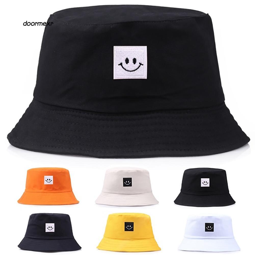 1c807836e DRMR_Smiley Face Patch Solid Color Folding Fisherman Hat Outdoor Men Women  Bucket Cap