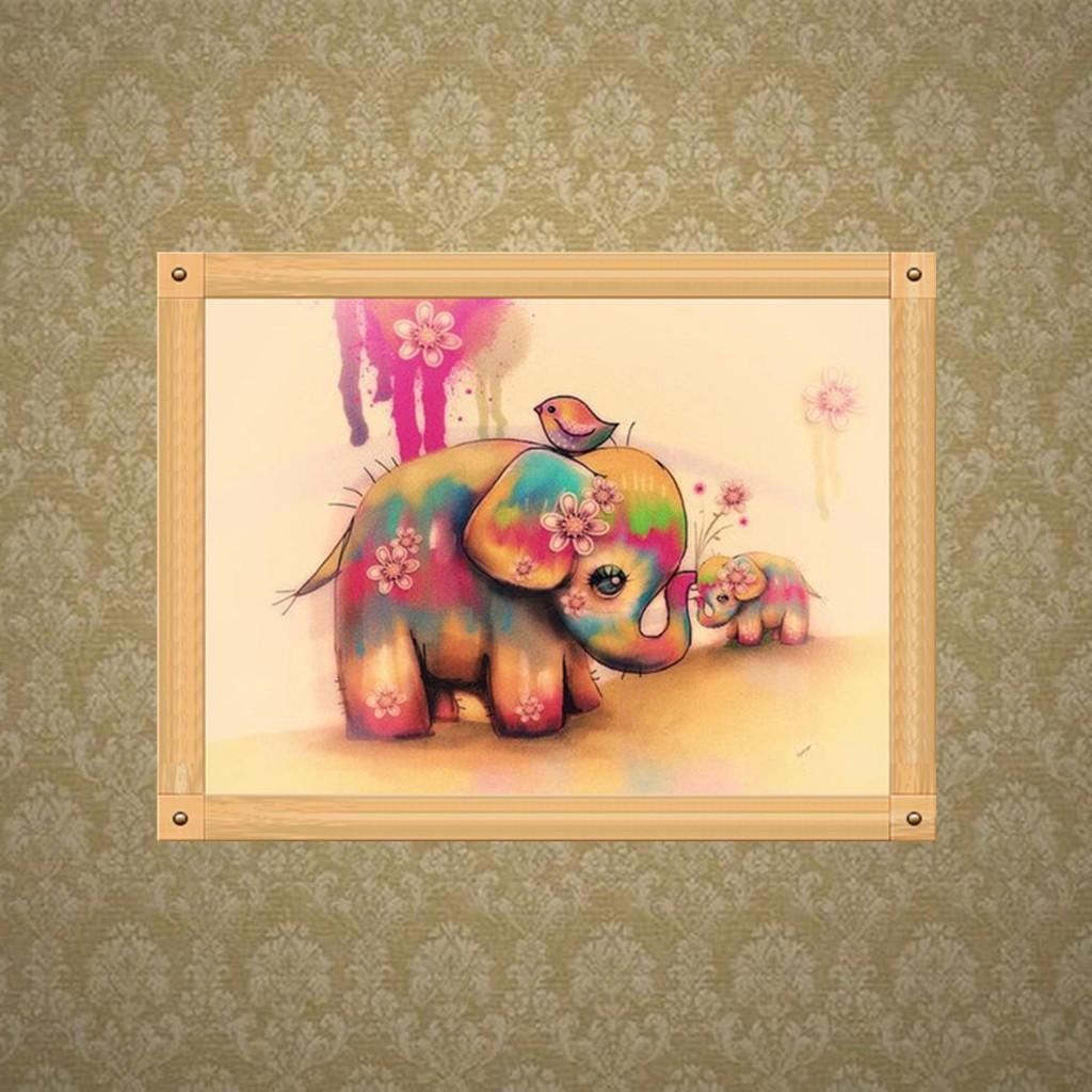 5d Cross Stitch Kit Square Full Drill Diamond Painting Elephant 30cmx40cm NEW
