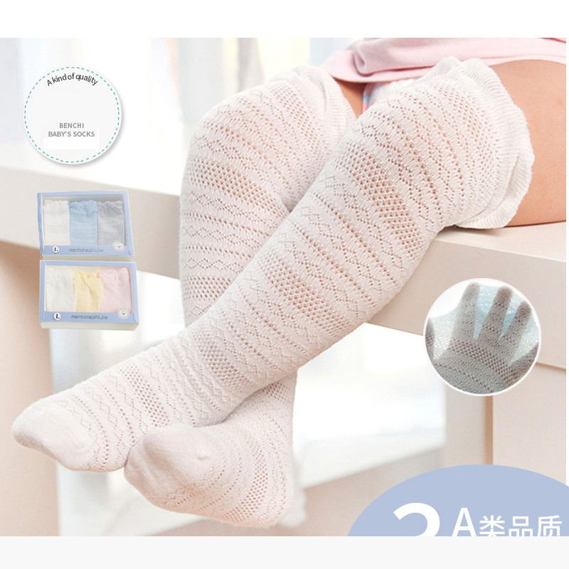 Summer Lace Mesh Baby Socks Cotton Long Socks Anti-mosquito Knee High Socks 0-6M