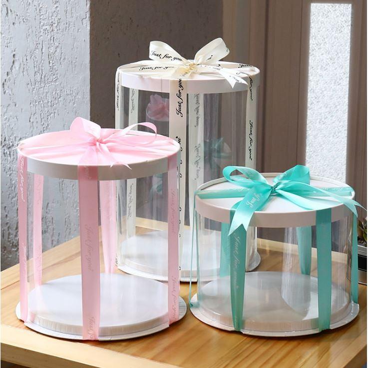 Wedding Gift Singapore: Transparent Round Cake Box Tall High Cake Boxes Wedding