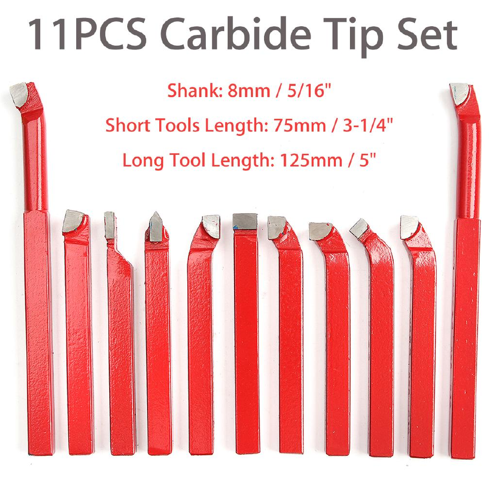 "11 PCS 5//16"" CARBIDE TIP TIPPED CUTTER TOOL BIT CUTTING SET METAL LATHE TOOLING"