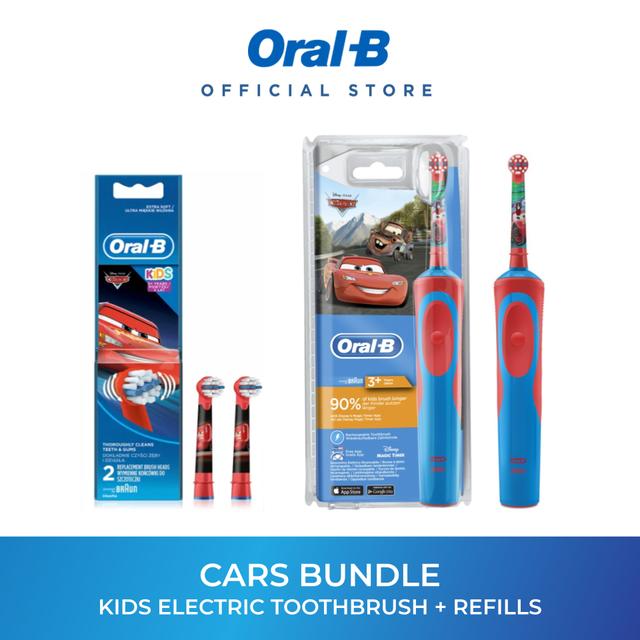 Buy [Bundle of 2] Oral-B Vitality Kids Cars Disney Electric Toothbrush + Refills Bundle Set Singapore