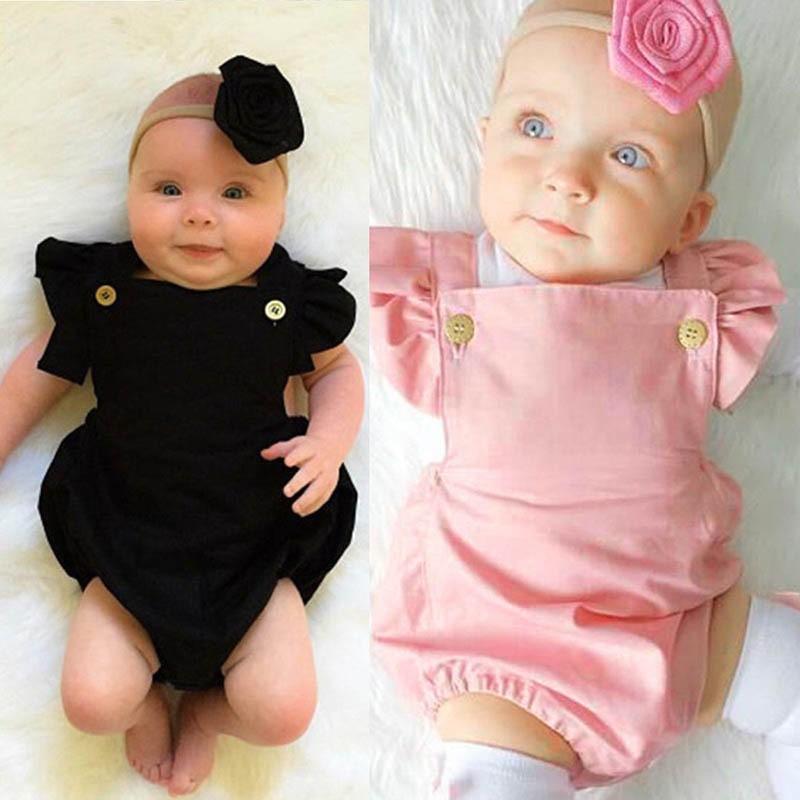 54e30f844d0a Fashion Baby  Romper Cotton Arm Fly Color Black   Pink Plain for Women