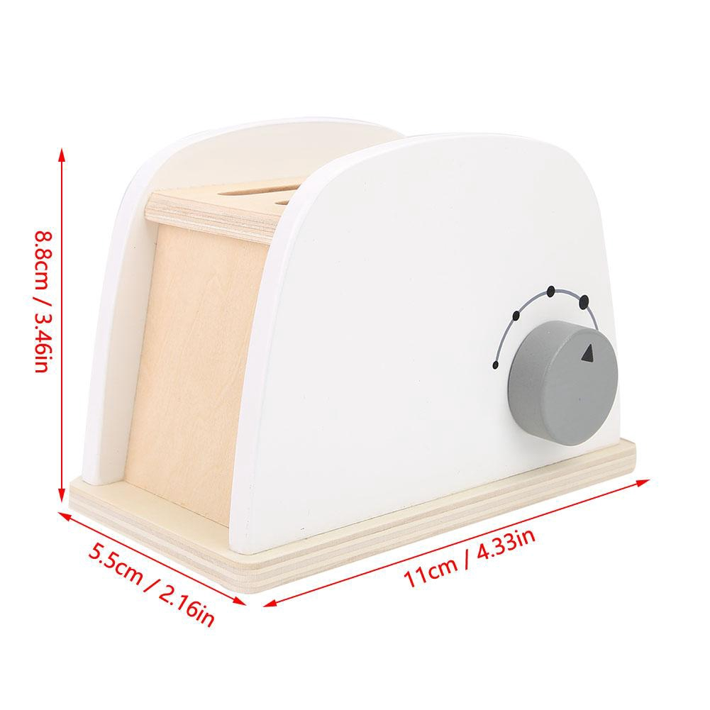 Wooden Toaster Kids Toy Set Natural Wood Pretend Play Kitchen Toys