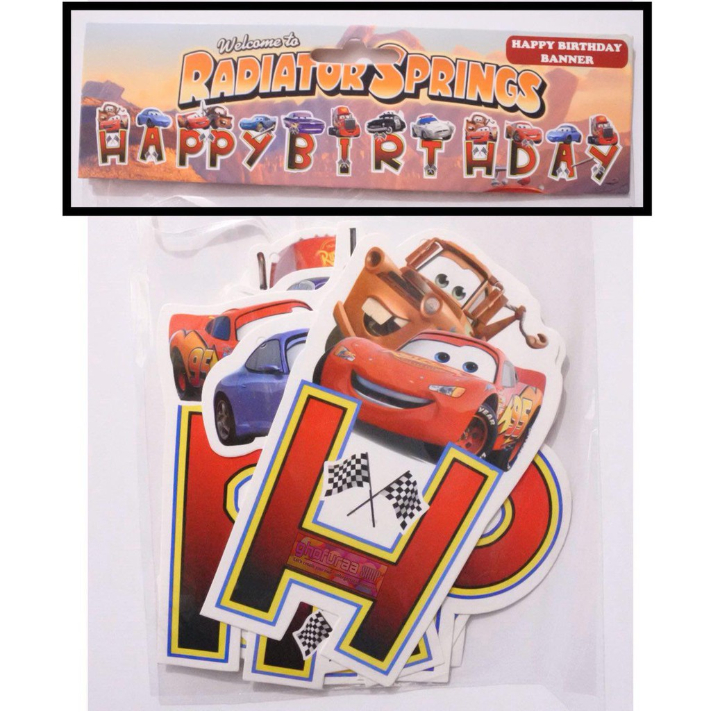 Happy Birthday Cars Banner Bunting Flag Hbd Mcqueen Car Characters Birthday Decorations Shopee Singapore
