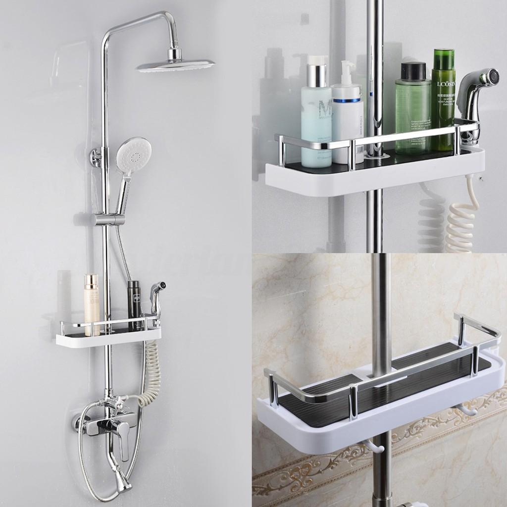 New Bathroom Pole Shelf Shower Storage Caddy Rack