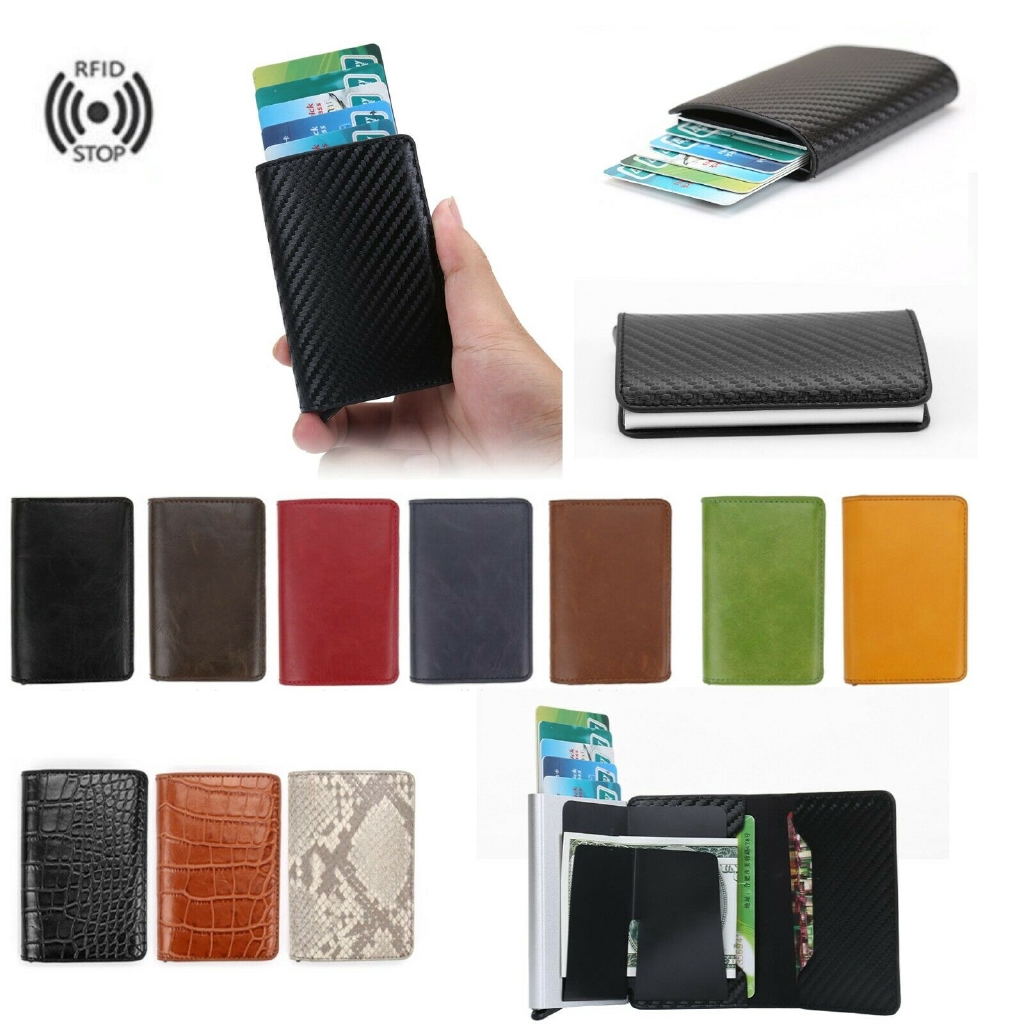 Auto Credit Card Holder Faux Leather RFID Blocking Small Metal Wallet Money Clip