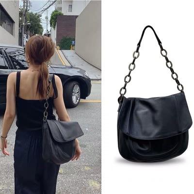 Women/'s Pu Leather Chains Shoulder Bag Black Handbag Casual Satchel Totes Purses