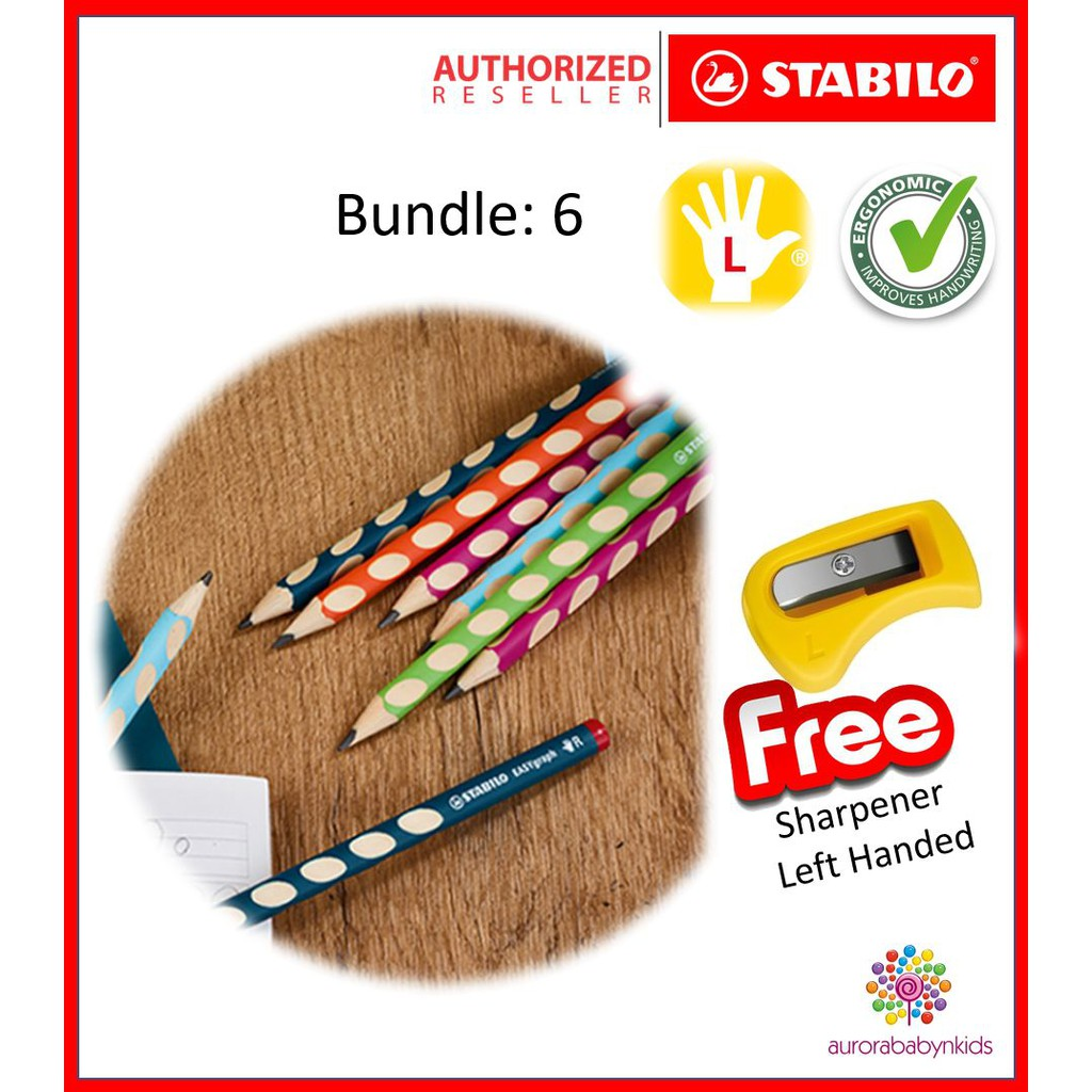 Stabilo EASYgraph EASYcolors Left Handed Colouring Pencils Pack of 12+Sharpener