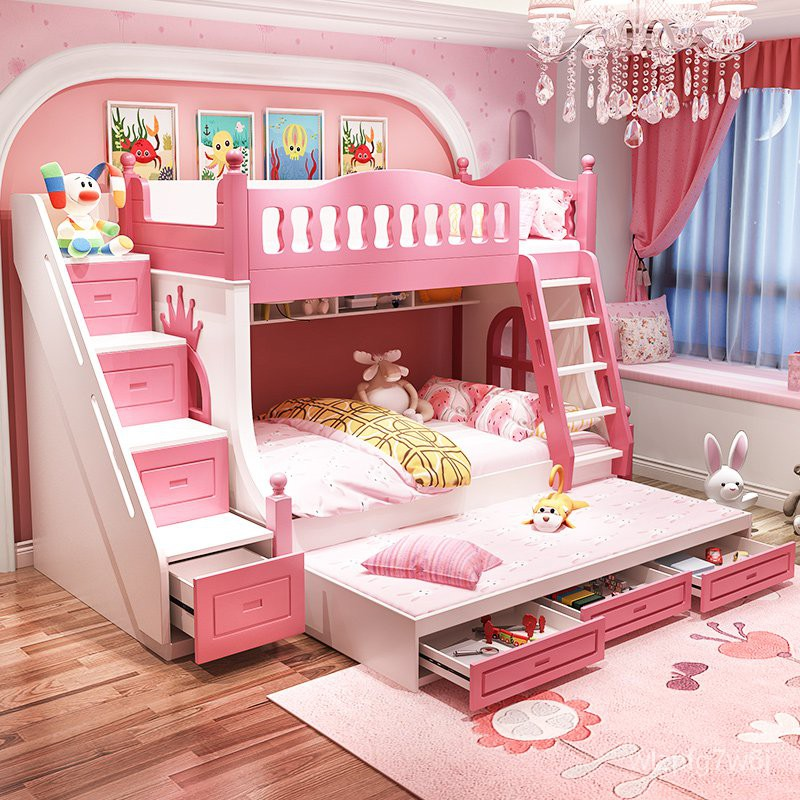 Sg Children S Bed Bunk Bed Girls Height Bunk Bed Princess Bed Solid Wood Bunk Bed Upper And Lower Bunk With Fence1 5ri Shopee Singapore