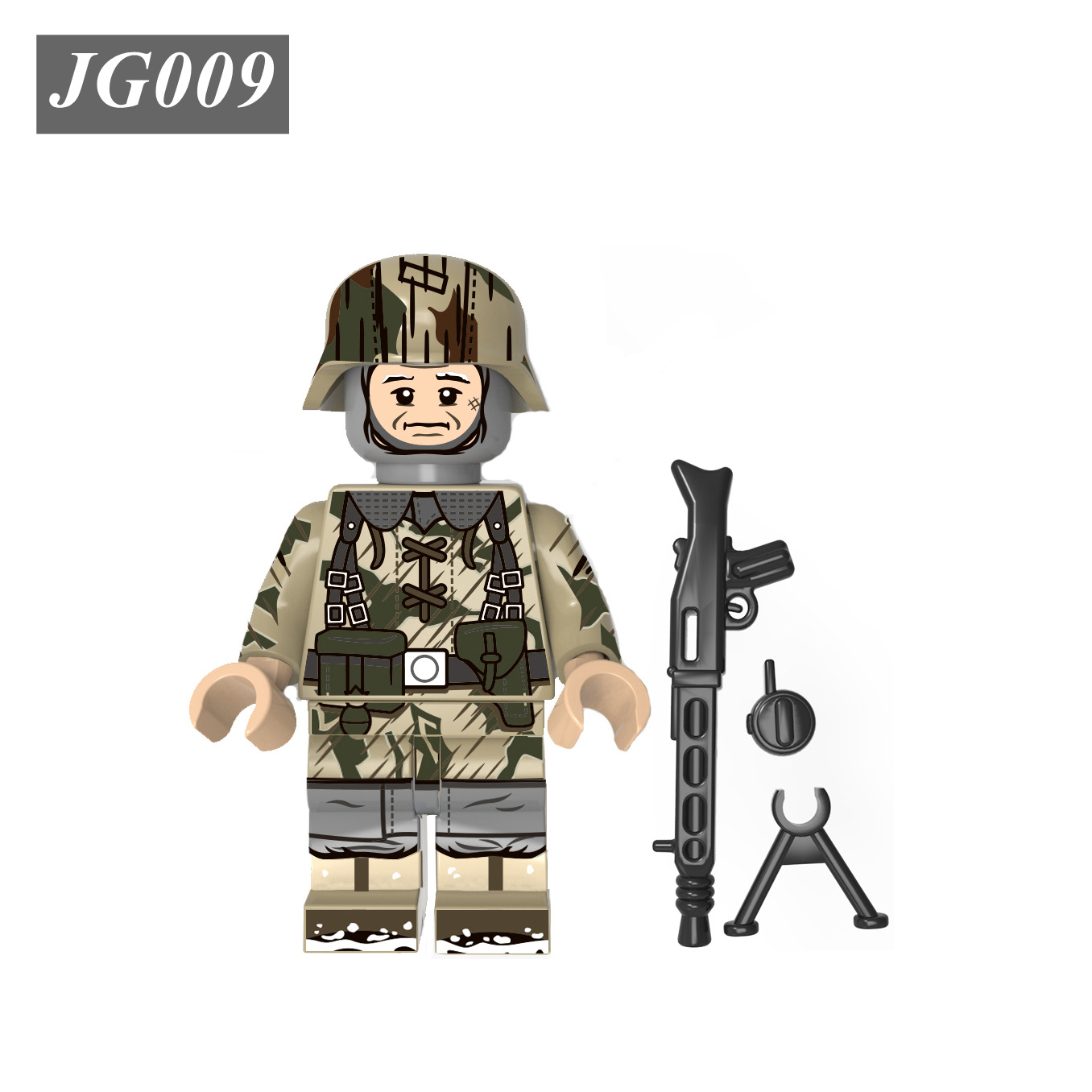 Lego Minifigures Soldier Jg008 Wwii German Winter Snow Camouflage Troops Building Blocks Toys