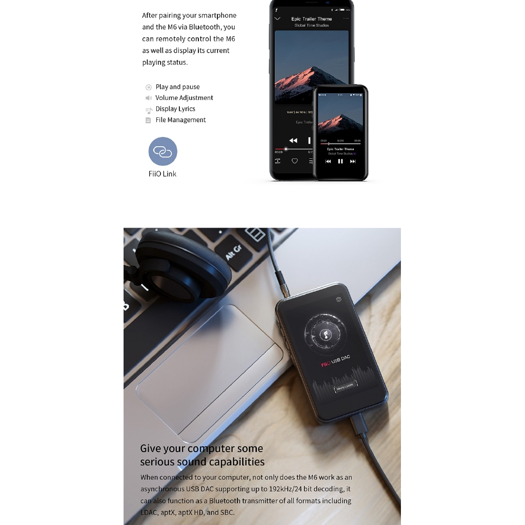 FiiO M6 Hi-Res Music Player with aptX HD LDAC HiFi Bluetooth