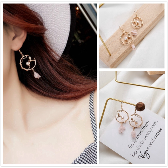 0fb3829aaaad1 Korean Women Bird Pearl Circle Drop Dangle Geometric Earring Hooks Party  Jewelry