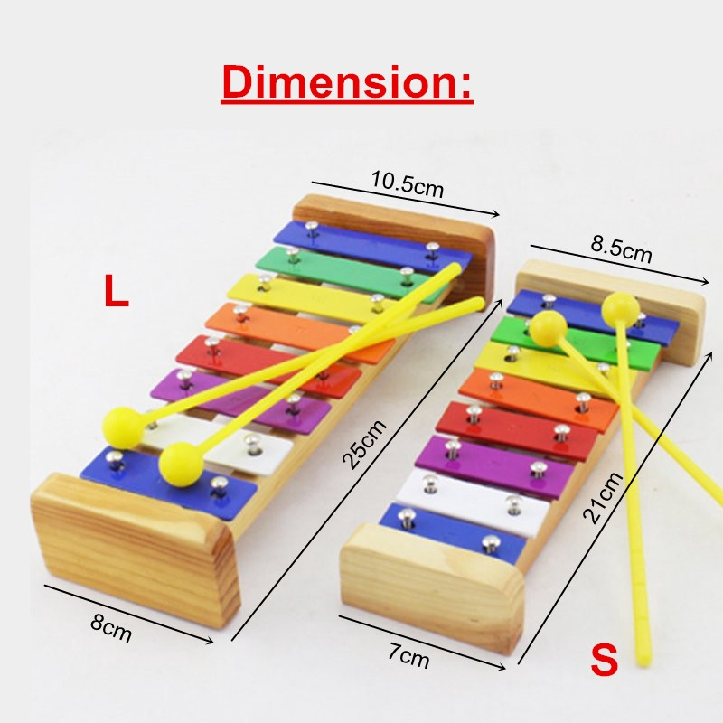 8 Notes Wooden Kids Metal Xylophone Glockenspiel Musical Instrument Music Toys