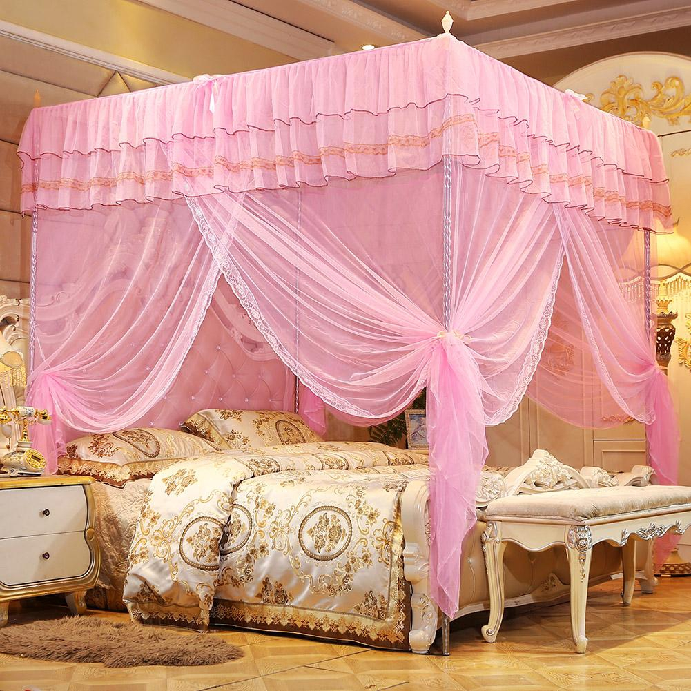 - Mosquito Side Net Netting Openings Luxury Princess Bed Canopy Post