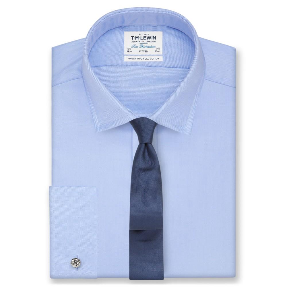T.M.Lewin Mens Slim Fit Navy Arrow Twill Button Cuff Shirt