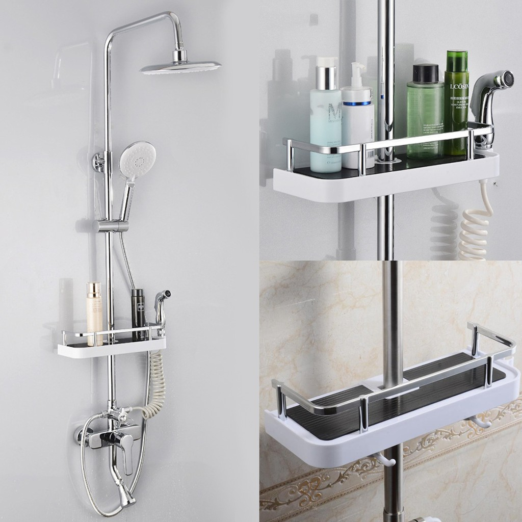 Bathroom Hardware Bathroom Shelf Adhesive Lightweight Multi-functional Organizer Storage Commodity Shelf Rack For Bathrooms Balcony Kitchen