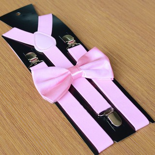 2pcs Men Matching Suspenders Braces /& Pre-Tied Bow Tie Combo Sets Fancy Costume