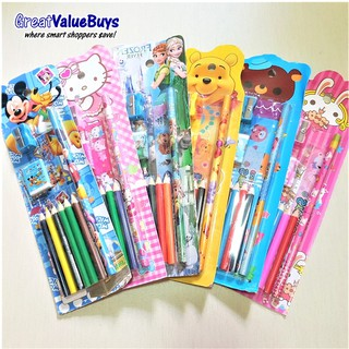 5 pcs bulk buy 10-pc Stationery Set with coloured pencils Goodie Bag  tationery Gifts Children Birthday Party Toys Kids