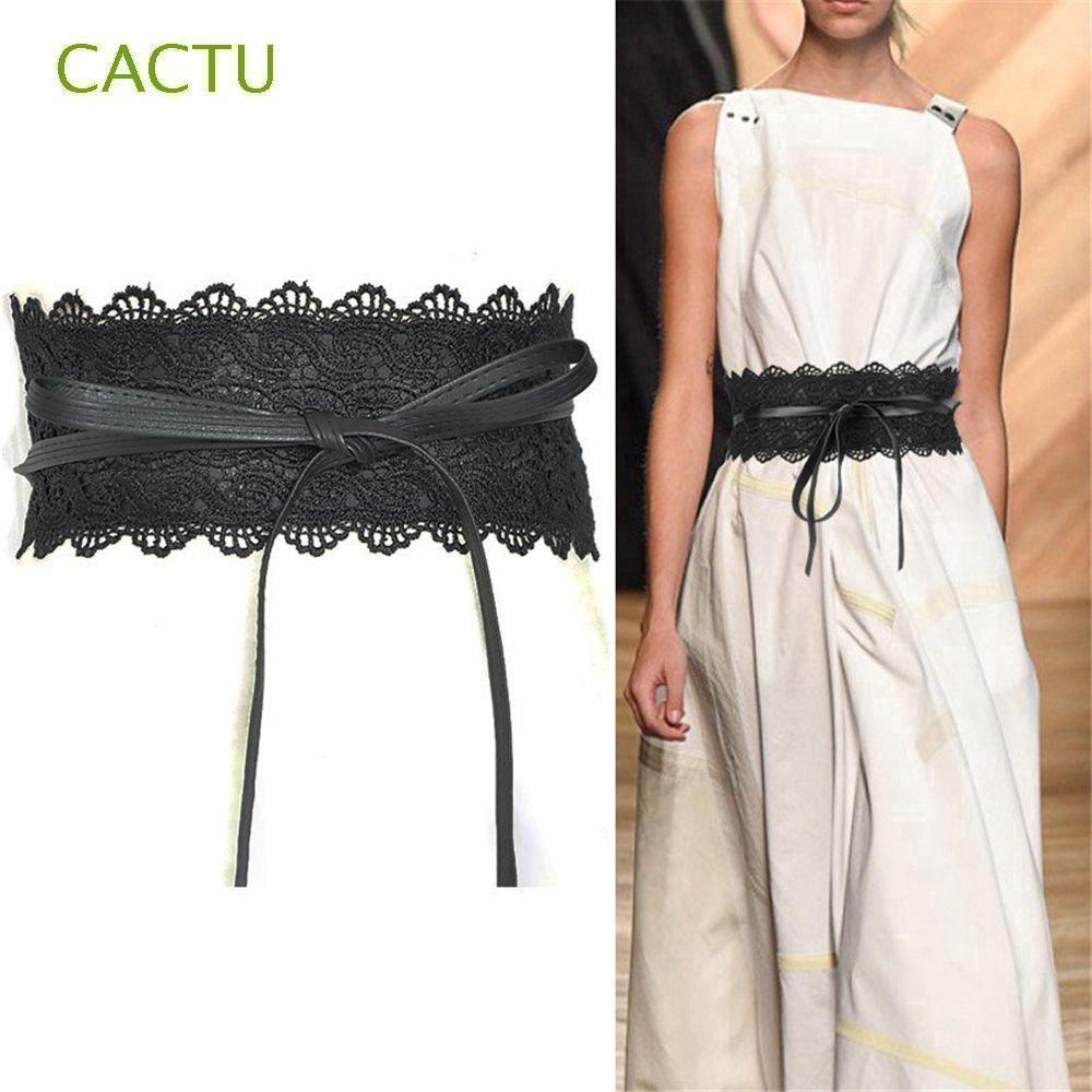 Women Lady Sweet Lace Pearl Bow Stretch Elastic Dress Waist Band Wrap Belt
