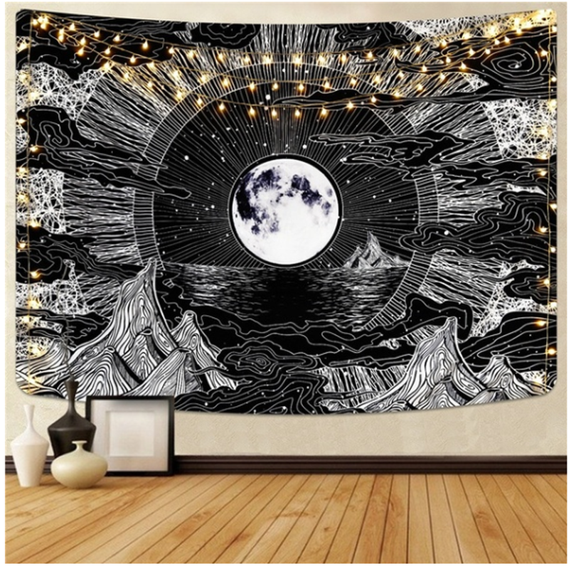 Limited Time Discount Black White Wall Blanket Art Tapestry Moon Tapestry Wall Hanging Psychedelic Tapestries For Living Room Bedroom Home Decor Shopee Singapore