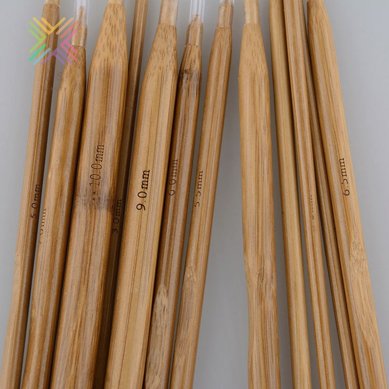 High Quality Set 36pcs Single Pointed Bamboo Knitting Needles Case 2mm 10mm GS