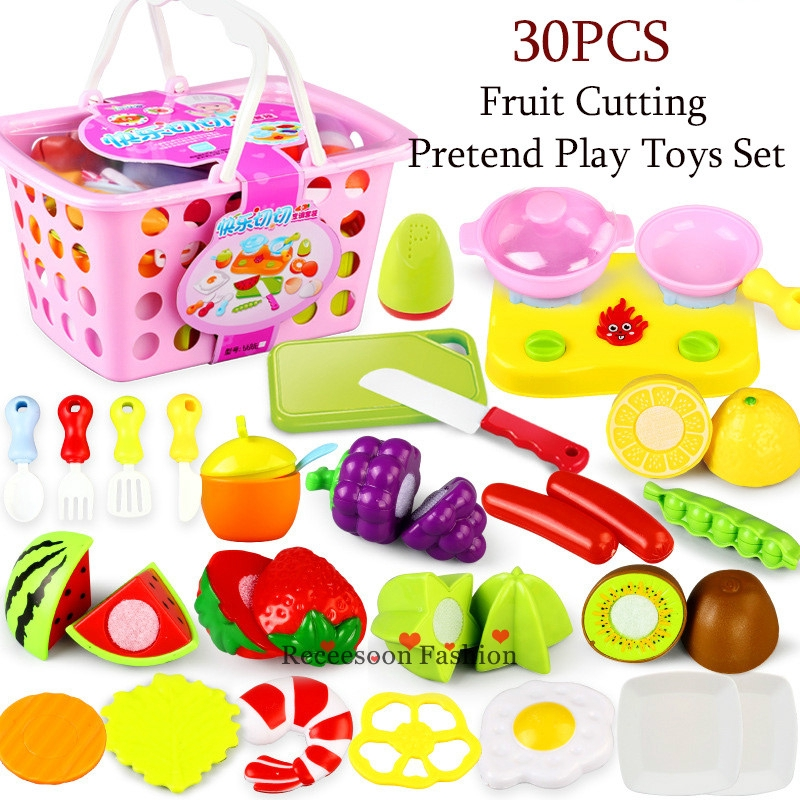 30pcs Pretend Play Cutting Fruit Toys Set Kids Kitchen Cooking Toy Girls Gifts