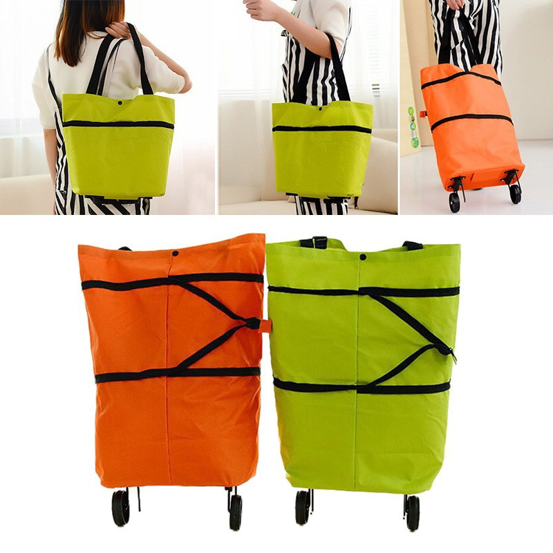 Foldable Shopping Trolley Bag Cart Rolling Wheel Grocery Tote Handbag Travel