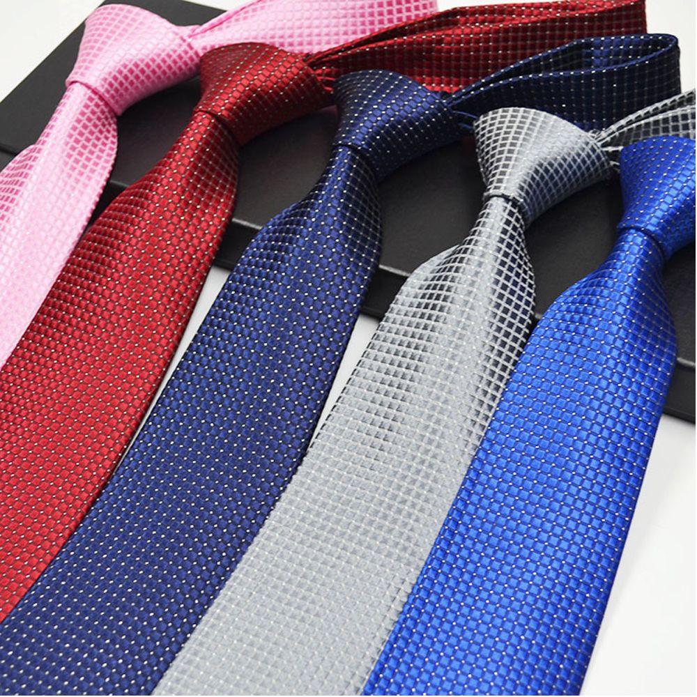 Polyester Silk Black Plaid Tie Men/'s Accessories Men/'s Tie Business Style