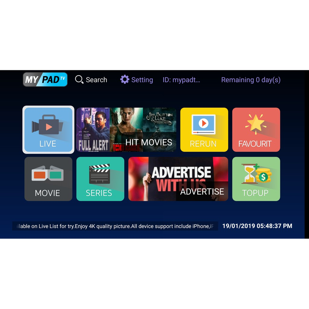 Authorized MYPADTV Subscription! READY Pincode
