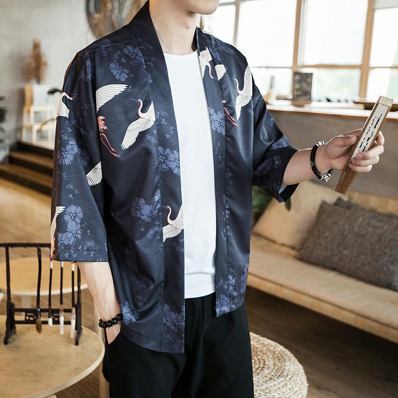 Men Striped Hippy Cardigan Yukata Japanese Kimono Coat Jacket Outwear Retro 2019
