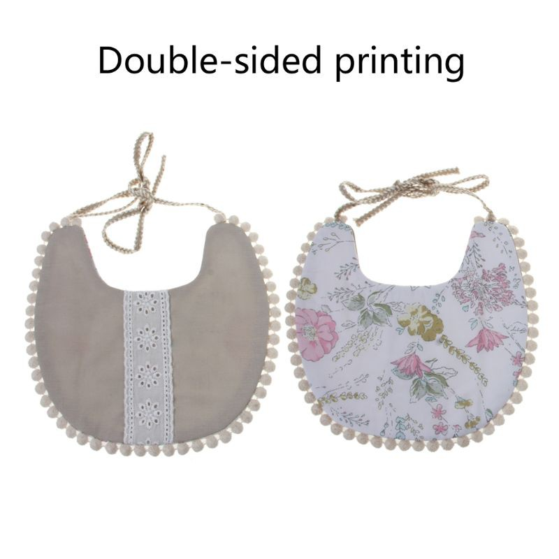 ✿ Baby Tassel Saliva Towel Floral Vintage Newborn Photography Double Side Bibs Boys Girls Props Bandana Countryside Costume Kids Burp Cloth