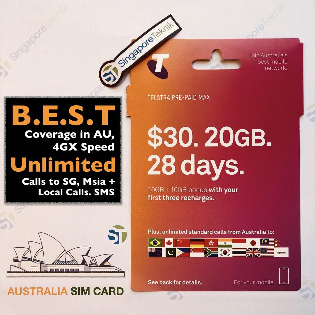 Australia 20GB SIM Card Prepaid TELSTRA Data 4G 3G Mobile Starter Kit Nano  AU Best Coverage No Pocket Wifi