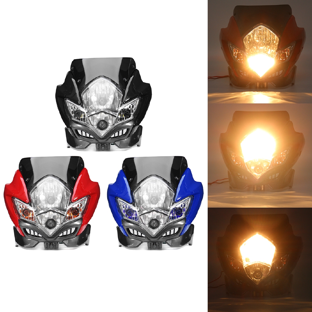 Black Universal Motorcycle Street Fighter Dirt Bike Headlight Fairing Light Lamp
