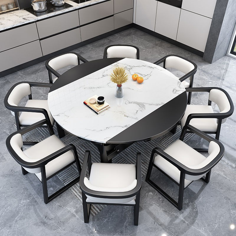 Marble dining table solid wood dining table and chair ...