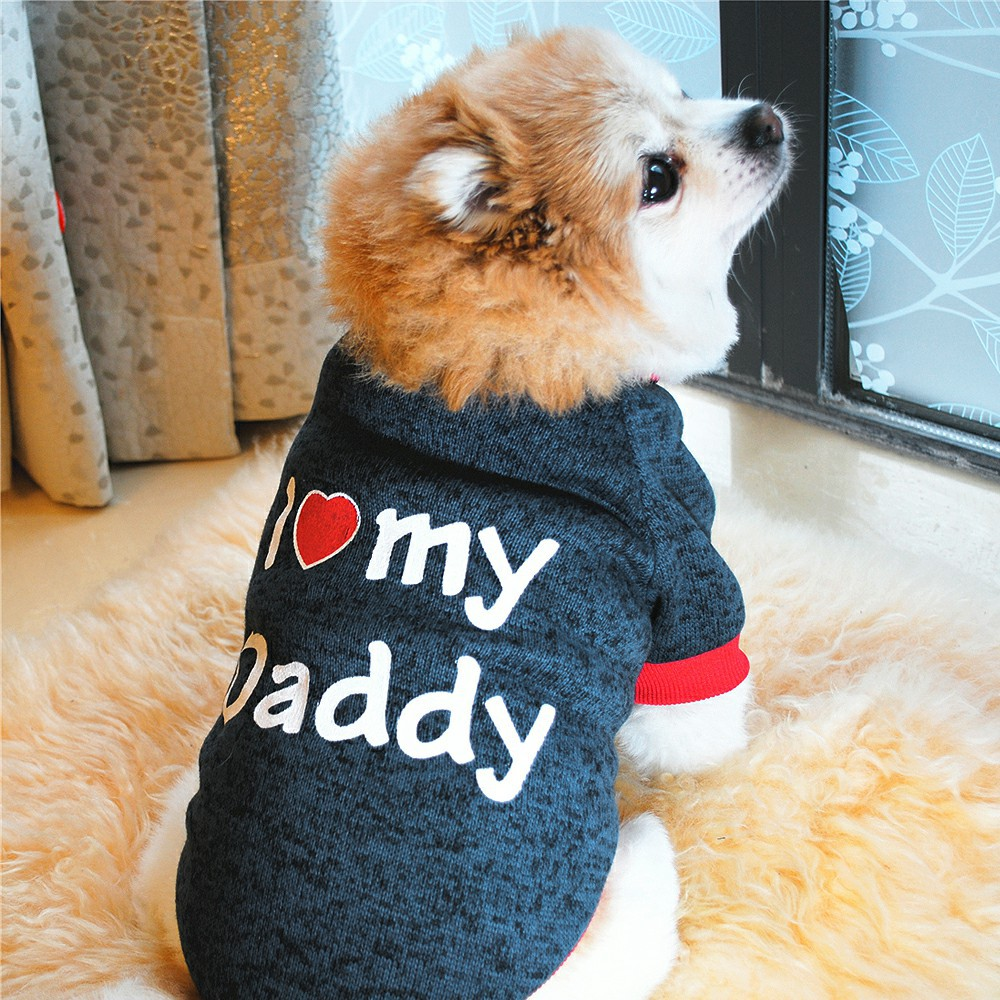 Size Small XS S M L I Love My Mommy Daddy T-Shirt Dog Clothing for Cat Yorkie