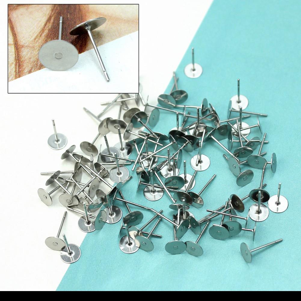 100 Silver Tone Flat Pad Earring Posts Studs DIY 8mm