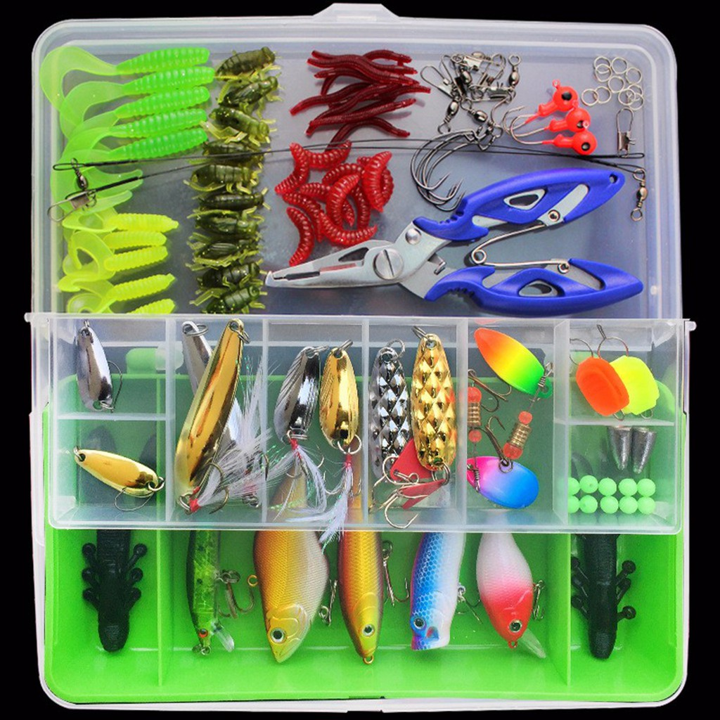 Fishing Tackle Box Accessories Kit Crankbait Swivels Snaps Hooks Sinkers Beads