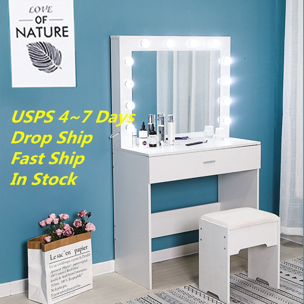 Vanity Set With Lighted Mirror Cushioned Stool Dressing Table Bedroom Vanity Makeup Table Drawer Vanity Table Set 2020 New Hot Shopee Singapore