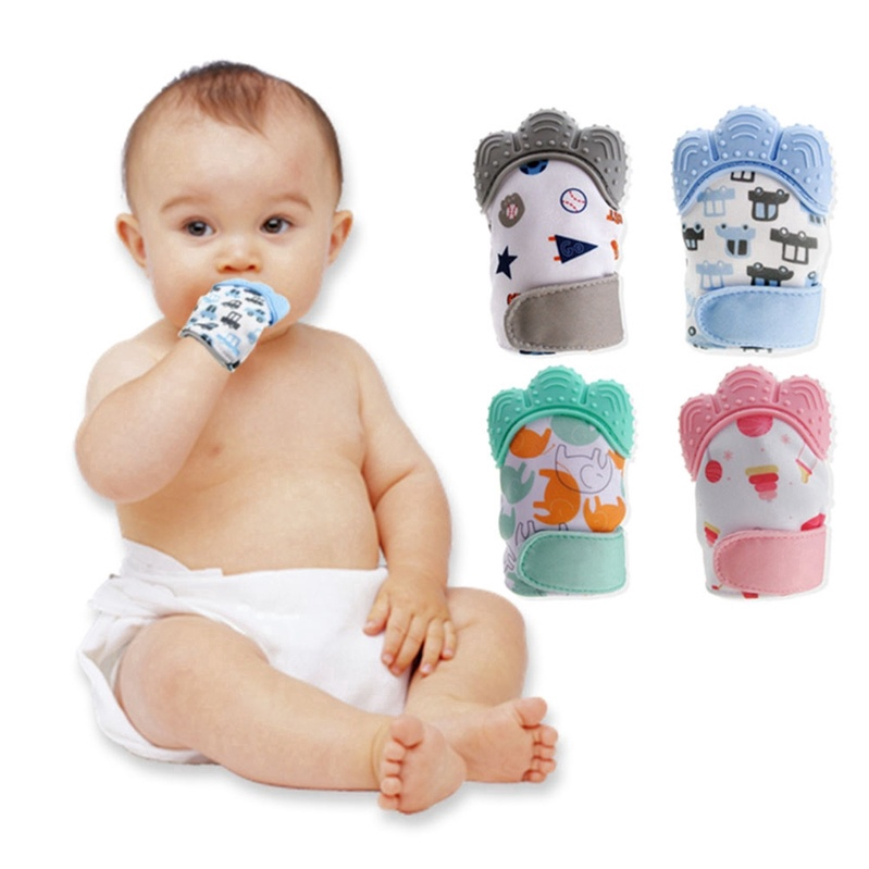 Baby Teether Silicone Mit Teething Mitten Glove Candy Wrapper Sound Toy Gift US